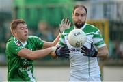 19 October 2014; Ger Naughton, Moorefield, in action against Seán Dempsey, Sarsfields. Kildare County Senior Football Championship Final, Sarsfields v Moorefield, St Conleth's Park, Newbridge, Co. Kildare. Picture credit: Piaras O Midheach / SPORTSFILE