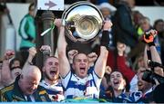 19 October 2014; Navan O'Mahonys captain Niall McKeigue lifts the cup. Meath County Senior Football Championship Final, Navan O'Mahonys v Donaghmore/Ashbourne, Páirc Tailteann, Navan, Co. Meath. Picture credit: Ramsey Cardy / SPORTSFILE