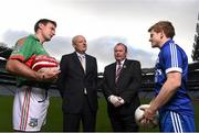 20 October 2014; #TheToughest – Denis O'Callaghan, Head of Branch Banking, AIB, and Uachtarán Chumann Lúthchleas Gael Liam Ó Néill with Rower Inistioge's Kieran Joyce, left, and Cratloe dual player Podge Collins the launch of the AIB GAA Club Championships. For exclusive content and to see why the AIB Club Championships are #TheToughest follow us @AIB_GAA and on Facebook at facebook.com/AIBGAA. Picture credit: Stephen McCarthy / SPORTSFILE