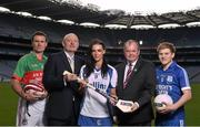 20 October 2014; #TheToughest – Denis O'Callaghan, Head of Branch Banking, AIB, and Uachtarán Chumann Lúthchleas Gael Liam Ó Néill with Rower Inistioge's Kieran Joyce, left, Milford Camogie star Ashling Thompson and Cratloe dual player Podge Collins the launch of the AIB GAA Club Championships. For exclusive content and to see why the AIB Club Championships are #TheToughest follow us @AIB_GAA and on Facebook at facebook.com/AIBGAA. Picture credit: Stephen McCarthy / SPORTSFILE