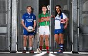 20 October 2014; #TheToughest – Cratloe dual player Podge Collins, left, Rower Inistioge's Kieran Joyce and Milford Camogie star Ashling Thompson are pictured at the launch of the AIB GAA Club Championships. For exclusive content and to see why the AIB Club Championships are #TheToughest follow us @AIB_GAA and on Facebook at facebook.com/AIBGAA. Picture credit: Stephen McCarthy / SPORTSFILE