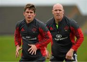20 October 2014; Munster's Ian Keatley, right, and Paul O'Connell during squad training ahead of their European Rugby Champions Cup, Pool 1, Round 2, match against Saracens on Friday. University of Limerick, Limerick. Picture credit: Diarmuid Greene / SPORTSFILE