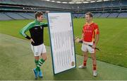 21 October 2014; The GAA is pleased to announce the staging of the second national club draw which was launched in Croke Park today. The draw, which was embraced by clubs earlier this year, will take place on February 27th, 2015 at Congress and has been organised with the intention of assisting clubs in their fundraising activities. In attendence at the launch are Donegal footballer Odhran Mac Niallais and Tipperary hurler Kieran Bergin. National Club Draw launch. Croke Park, Duvlin Picture credit: Barry Cregg / SPORTSFILE