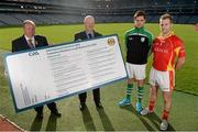 21 October 2014; The GAA is pleased to announce the staging of the second national club draw which was launched in Croke Park today. The draw, which was embraced by clubs earlier this year, will take place on February 27th, 2015 at Congress and has been organised with the intention of assisting clubs in their fundraising activities. In attendence at the launch are from left, Uachtarán Chumann Lúthchleas Gael Liam Ó Néill, Paul Browne, Maryland GAA, Co. Westmeath, Donegal footballer Odhran Mac Niallais and Tipperary hurler Kieran Bergin. National Club Draw launch. Croke Park, Duvlin Picture credit: Barry Cregg / SPORTSFILE