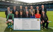 21 October 2014; The GAA is pleased to announce the staging of the second national club draw which was launched in Croke Park today. The draw, which was embraced by clubs earlier this year, will take place on February 27th, 2015 at Congress and has been organised with the intention of assisting clubs in their fundraising activities. In attendence at the are back row from left, Jimmy O'Gorman, National Finance Committee, PJ Meehan, Insurance Officer Leitrim County Board, Paul Browne, Maryland GAA, Co. Westmeath, John Joe Carroll, National Finance Committee, Michael Doran, Carlow Central Council Delegate, Fergal Ormsby, GAA National Finance Department, and Gerry McGovern, National Finance Committee. Front row from left, Donegal footballer Odhran Mac Niallais, Cathy Slattery,GAA National Finance Manager, Marion Donnelly, National Finance Committee, Uachtarán Chumann Lúthchleas Gael Liam O'Neill, Tracey McGrath, National Finance Committee, Tipperary hurler Kieran Bergin and Sheamus Howlin, National Finance Committee . National Club Draw launch. Croke Park, Dublin. Picture credit: Barry Cregg / SPORTSFILE