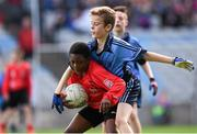 23 October 2014; Warith Omotoso, St. Patrick's SNS, Corduff, in action against Alex O'Meara, St. Mary's BNS, Booterstown, during the Sciath Clanna Gael Final. Allianz Cumann na mBunscol Finals, Croke Park, Dublin. Picture credit: Pat Murphy / SPORTSFILE