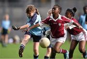 23 October 2014; Ally Gormley, St Mary's NS, Garristown, in action against Kismot Ahmed, St. Luke's NS, Tyrrelstown, right, during the Corn Na Laoch Final. Allianz Cumann na mBunscol Finals, Croke Park, Dublin. Picture credit: Pat Murphy / SPORTSFILE