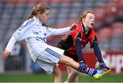 23 October 2014; Lauren Kearney, Bishop Galvin NS, Templeogue, in action against Hannah Byrne, St Colmcille's SNS, Knocklyon, left, during the Austin Finn Shield final. Allianz Cumann na mBunscol Finals, Croke Park, Dublin. Picture credit: Pat Murphy / SPORTSFILE