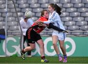 23 October 2014; Emma Campion, Bishop Galvin NS, Templeogue, in action against Ciara Doyle, St Colmcille's SNS, Knocklyon, left, during the Austin Finn Shield final. Allianz Cumann na mBunscol Finals, Croke Park, Dublin. Picture credit: Pat Murphy / SPORTSFILE