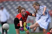 23 October 2014; Lauren Kearney, Bishop Galvin NS, Templeogue, in action against Sarah Gleeson, St Colmcille's SNS, Knocklyon, left, during the Austin Finn Shield final. Allianz Cumann na mBunscol Finals, Croke Park, Dublin. Picture credit: Pat Murphy / SPORTSFILE