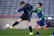 23 October 2014; Toby Coombes, Mary Queen of Angels, Ballyfermot, in action against Gerard Browne, St. Mary's NS, Saggart, right, during the Sciath O Donnchu final. Allianz Cumann na mBunscol Finals, Croke Park, Dublin. Picture credit: Pat Murphy / SPORTSFILE