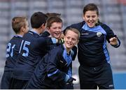 23 October 2014; Eoin Gannon, Mary Queen of Angels, Ballyfermot, third from left, is surrounded by his team-mates after scoring a goal against St. Mary's NS, Saggart, during the Sciath O Donnchu final. Allianz Cumann na mBunscol Finals, Croke Park, Dublin. Picture credit: Pat Murphy / SPORTSFILE