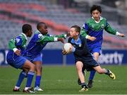 23 October 2014; Christopher Fulham, Mary Queen of Angels, Ballyfermot, in action against St. Mary's NS, Saggart, from left, Casey Anyadioha, Ibraham Ekeolere and Mac Ma during the Sciath O Donnchu final. Allianz Cumann na mBunscol Finals, Croke Park, Dublin. Picture credit: Pat Murphy / SPORTSFILE