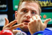 24 October 2014; Leinster's Jamie Heaslip during a press conference ahead of their European Rugby Champions Cup, Pool 2, Round 2, match against Castres on Sunday. Leinster Rugby Press Conference, Leinster Rugby HQ, Belfield, Dublin. Picture credit: Pat Murphy / SPORTSFILE