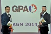 24 October 2014; Dessie Farrell, left, CEO, GPA, with Donal Og Cusack, Chairman of the GPA, at the Gaelic Players Association Annual General Meeting 2014. Gibson Hotel, Dublin. Picture credit: Brendan Moran / SPORTSFILE