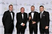 24 October 2014; Mayo footballer Keith Higgins is presented with his 2014 GAA GPA All-Star award by Uachtarán Chumann Lúthchleas Gael Liam Ó Néill, Dessie Farrell, Chief Executive of the Gaelic Players Association, and Dave Sheeran, Managing Director of Opel Ireland. GAA GPA All-Star Awards 2014 Sponsored by Opel. Convention Centre, Dublin. Picture credit: Brendan Moran / SPORTSFILE