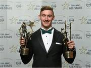 24 October 2014; Kerry footballer James O'Donoghue with his 2014 GAA GPA All-Star award and Player of the Year award at the 2014 GAA GPA All-Star Awards, sponsored by Opel. Convention Centre, Dublin. Picture credit: Paul Mohan / SPORTSFILE