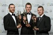 24 October 2014; Mayo footballers, from left, Keith Higgins, Cillian O'Connor and Colm Boyle with their 2014 GAA GPA All-Star awards at the 2014 GAA GPA All-Star Awards, sponsored by Opel. Convention Centre, Dublin. Picture credit: Paul Mohan / SPORTSFILE