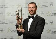 24 October 2014; Mayo footballer Keith Higgins with his 2014 GAA GPA All-Star award at the 2014 GAA GPA All-Star Awards, sponsored by Opel. Convention Centre, Dublin. Picture credit: Paul Mohan / SPORTSFILE
