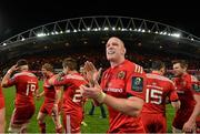 24 October 2014; Munster's Paul O'Connell celebrates after the game. European Rugby Champions Cup 2014/15, Pool 1, Round 2, Munster v Saracens, Thomond Park, Limerick. Pictuer credit: Matt Browne / SPORTSFILE
