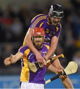 24 October 2014; Kilmacud Crokes' Ryan O'Dwyer and team-mate Jude Sweeney, right, celebrate at the final whistle. Dublin County Senior Hurling Championship Final, St Judes v Kilmacud Crokes, Parnell Park, Dublin. Picture credit: Pat Murphy / SPORTSFILE