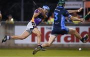 24 October 2014; Ross O'Carroll, Kilmacud Crokes, scores a goal despite the challenge of Gerard McManus, St Judes. Dublin County Senior Hurling Championship Final, St Judes v Kilmacud Crokes, Parnell Park, Dublin. Picture credit: Pat Murphy / SPORTSFILE