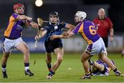 24 October 2014; Danny Sutcliff, St Judes, in action against Dillon Mulligan, left, and Jack Doughan, Kilmacud Crokes. Dublin County Senior Hurling Championship Final, St Judes v Kilmacud Crokes, Parnell Park, Dublin. Picture credit: Pat Murphy / SPORTSFILE