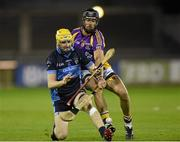 24 October 2014; Jude Sweeney, Kilmacud Crokes, in action against Alan O'Beirne, St Judes. Dublin County Senior Hurling Championship Final, St Judes v Kilmacud Crokes, Parnell Park, Dublin. Picture credit: Pat Murphy / SPORTSFILE