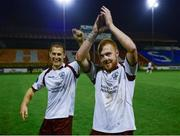 24 October 2014; Goal scorers Jake Keegan, left and Ryan Connolly, Galway United, celebrate after the game. SSE Airtricity League First Division Play-Off, Second Leg, Shelbourne v Galway, Tolka Park, Dublin. Picture credit: Ray Lohan / SPORTSFILE