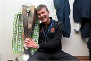 24 October 2014; Dundalk manager Stephen Kenny with the league trophy after the game. SSE Airtricity League Premier Division, Dundalk v Cork City, Oriel Park, Dundalk, Co. Louth. Picture credit: David Maher / SPORTSFILE