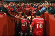 24 October 2014; Munster's Duncan Williams, left, and Eusebio Guinazu are greeted by supporters as they leave the pitch after victory over Saracens. European Rugby Champions Cup 2014/15, Pool 1, Round 2, Munster v Saracens. Thomond Park, Limerick. Picture credit: Diarmuid Greene / SPORTSFILE