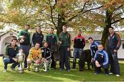 25 October 2014; The AIB Leinster GAA Club Championship was launched today, hosted by Irish National Stud and Gardens. Pictured at the launch are club captains, from left, Brendan Murphy, Rathvilly, Co. Carlow, Joe McCormack, Emmet Og Killoe, Co. Longford, Dessie Brennan, Eadestown GAA, Kenneth Garry, vice-captain, Rhode, Co. Offaly, Cahir Healy, Portlaoise, Co. Laois, John Doran, St. Mullins, Co. Carlow, Dan Currams, Kilcormac/Killoughey, Co. Offaly, Richard Coady, Mount Leinster Rangers, Co. Carlow, Conor Jordan, Raharney, Co. Westmeath, Niall McKeigue, Navan O'Mahony's, Co. Meath, and Alan Delaney, Rathdowney Erril, Co. Laois. Irish National Stud and Japanese Gardens, Tully, Co. Kildare. Picture credit: Pat Murphy / SPORTSFILE