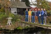 25 October 2014; The Leinster GAA Club Championship was launched today, hosted by Irish National Stud and Gardens. Pictured at the launch are football club captains, from left, Brendan Murphy, Rathvilly, Co. Carlow, Kenneth Garry, vice-captain, Rhode, Co. Offaly, Joe McCormack, Emmet Og Killoe, Co. Longford, Ben Finnegan, AIB Marketing, Dessie Brennan, Eadestown GAA, Niall McKeigue, Navan O'Mahony's, Co. Meath, and Cahir Healy, Portlaoise, Co. Laois. Irish National Stud and Japanese Gardens, Tully, Co. Kildare. Picture credit: Pat Murphy / SPORTSFILE