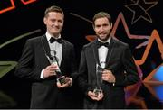24 October 2014; Roscommon hurlers Cathal Dolan, left, and Tomás Seale with their Nicky Rackard Champions 15 Awards at the 2014 GAA GPA All-Star Awards, sponsored by Opel. Convention Centre, Dublin. Picture credit: Brendan Moran / SPORTSFILE