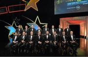24 October 2014; The Lory Meagher Champions 15 Awards winners with Uachtarán Chumann Lúthchleas Gael Liam Ó Néill and Donal Og Cusack, Chairman of the GPA, at the 2014 GAA GPA All-Star Awards, sponsored by Opel. Convention Centre, Dublin. Picture credit: Brendan Moran / SPORTSFILE