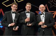 24 October 2014; Warwickshire players, from left, Conor Robins, Dwayne Sheedy and Cormac Behan with their Lory Meagher Champions 15 Awards at the 2014 GAA GPA All-Star Awards, sponsored by Opel. Not in attendance was Martin Coyle. Convention Centre, Dublin. Picture credit: Brendan Moran / SPORTSFILE