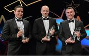24 October 2014; Leitrim players, from left, Padraig O'Donnell, Clement Cunniffe and David McGovern with their Lory Meagher Champions 15 Awards at the 2014 GAA GPA All-Star Awards, sponsored by Opel. Not in attendance was Martin Coyle. Convention Centre, Dublin. Picture credit: Brendan Moran / SPORTSFILE