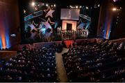 24 October 2014; A genral view of the 2014 GAA GPA Allstar Football team on stage during the 2014 GAA GPA All-Star Awards, sponsored by Opel. Convention Centre, Dublin. Picture credit: Brendan Moran / SPORTSFILE