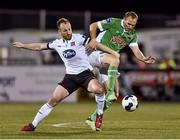 24 October 2014; Stephen O'Donnell, Dundalk, in action against Colin Healy, Cork City. SSE Airtricity League Premier Division, Dundalk v Cork City, Oriel Park, Dundalk, Co. Louth. Picture credit: Ramsey Cardy / SPORTSFILE