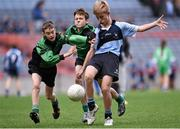 23 October 2014; Hugo McWade, St. Michael's, Ballsbridge, in action against Stephen Grogan, left, and Ruairi Hogan, St. Joseph's, Terenure, during the Scaith na nGearaltach final. Allianz Cumann na mBunscol Finals, Croke Park, Dublin. Picture credit: Pat Murphy / SPORTSFILE
