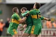 26 October 2014; Paddy Keenan, St Patrick's, in action against Pauric Sullivan, left, and Shane Sullivan, Rhode. AIB Leinster GAA Football Senior Club Championship, First Round, Rhode v St Patrick's, O'Connor Park, Tullamore, Co. Offaly. Picture credit: Ramsey Cardy / SPORTSFILE