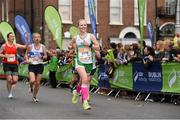 27 October 2014; Carolyn Hayes, West Limerick A.C., on her way to finishing the SSE Airtricity Dublin Marathon 2014. Merrion Square, Dublin. Picture credit: Ray McManus / SPORTSFILE