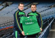 28 October 2014; Ireland manager Paul Earley, right, and captain Michael Murphy at a GAA Go International Rules Press Conference ahead of the upcoming test against Australia. GAA Go International Rules Press Conference. Croke Park, Dublin. Picture credit: Ramsey Cardy / SPORTSFILE
