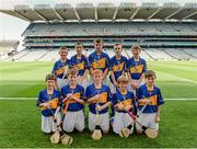 27 September 2014; The Tipperary team, back row, left to right, James Lydon, Scoil Treasa, Firhouse, Co. Dublin, Cathal Fitzgerald, Watergrasshill GAA Club, Watergrasshill, Co. Cork, Eoghan O'Brien, Kilvemnon N.S., Mullinahone, Co. Tipperary, Niall Duffy, Birdhill N.S., Birdhill, Co. Tipperary, Josh Higgins, Tír na nÓg GAA Club, Randalstown, Co. Antrim, front row, left to right, Jake Nee, Leitrim Kilnadeema GAA Club, Loughrea, Co. Galway, Adam Clare, Clogherinkoe N.S., Broadford, Co. Kildare, Aaron Wymberry, St. Declan's N.S., Waterford City, Co. Waterford, Diarmuid Brennan, Carrig N.S., Birr, Co. Offaly, and Conal Hession, Aghamore N.S., Ballyhaunis, Co. Mayo. INTO/RESPECT Exhibition GoGames, Croke Park, Dublin. Picture credit: Dáire Brennan / SPORTSFILE