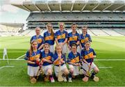 27 September 2014; The Tipperary camogie team, back row, left to right, Caoimhe Forrest, Ballygunner N.S., Waterford City, Aine Corcoran,  Bailieborough Shamrocks GAA Club, Bailieborough, Co. Cavan, Carla O'Neill, St. Michael's P.S., Randalstown, Co. Antrim, Katie Boyle, Borrisoleigh N.S., Borrisoleigh, Co. Tipperary, Ellen Brennan, St Mary's Secondary School, Newport, Co. Tipperary, front row, left to right, Roisín Cahill, Coláiste na Trocaire, Rathkeale, Co. Limerick, Gráinne Curtin, Glenville N.S., Glenville, Co. Cork, Aimee Collins, Scoil Maelruain Senior, Old Bawn, Co. Dublin, Joanne Hickey, St. Michael's N.S., Mullinahone, Co. Tipperary, and Aisling Browne, Snugboro N.S., Castlebar, Co. Mayo. INTO/RESPECT Exhibition GoGames, Croke Park, Dublin. Picture credit: Dáire Brennan / SPORTSFILE