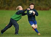 28 October 2014; Sean Reynolds, centre, in action against Anna Hilliard during the Leinster School of Excellence on Tour in Athboy RFC. Athboy RFC, Co. Meath. Picture credit: Barry Cregg / SPORTSFILE