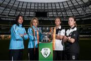 28 October 2014; Ahead of the FAI Continental Tyres Women's Cup Final between UCD Waves and Raheny United on Sunday are, from left, Aine O'Gorman, Julie-Ann Russell, UCD Waves, Pearl Slattery, and Rebecca Creagh, Raheny United. FAI Continental Tyres Women's Cup Final Media Day, FAI Suite, Aviva Stadium, Dublin. Picture credit: Pat Murphy / SPORTSFILE