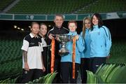 28 October 2014; Ahead of the FAI Continental Tyres Women's Cup Final between UCD Waves and Raheny United on Sunday are, from left, Pearl Slattery, Rebecca Creagh, Raheny United, Casey McQuillan, Raheny United manager, Eileen Gleeson, UCD Waves manager, Julie-Ann Russell and Aine O'Gorman, UCD Waves. FAI Continental Tyres Women's Cup Final Media Day, FAI Suite, Aviva Stadium, Dublin. Picture credit: Pat Murphy / SPORTSFILE