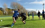 29 October 2014; John Shannahan from Two Mile House, Naas, Co. Kildare is tackled by Matt Farrell from Swords, Co. Dublin, during the Leinster School of Excellence on Tour in Donnybrook, Donnybrook Stadium, Dublin. Picture credit: Matt Browne / SPORTSFILE