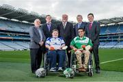 29 October 2014; Pictured in attendance at the launch are, from left, Tim Maher, Wheelchair Hurling Inventor, Cian Nelson, Camogie Operations, Shane Curran, Connacht & Galway, sponsor Martin Donnelly, Zahid Mahomed, Leinster & Dublin, Paraic Duffy, Ard-Stiúrthóir Cumann Luthchleas Gael and Paschal Donohoe, Minister for Transport, Tourism & Sport. M. Donnelly GAA Interprovincial Wheelchair Hurling Launch, Croke Park, Dublin. Picture credit: Ramsey Cardy / SPORTSFILE